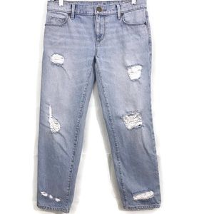 Ann Taylor LOFT Straight Cropped Destroyed Jeans